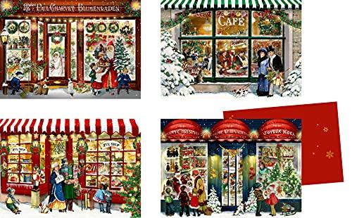 Mini-Adventskalender-Sortiment - Nostalgische Läden: 4 Motive x 6 Ex.