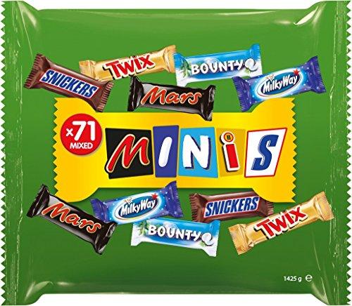 Snickers, Mars, Twix und weitere Schokoriegel | Großpackung Schokolade für Halloween | 71 Riegel | 1,425 kg