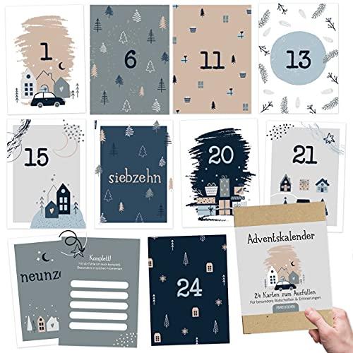 Karten-Adventskalender zum Basteln und Verschenken für den Partner Set 3   24 Postkarten zum Gestalten   Geschenkidee in der Vorweihnachtszeit  mit liebevollen Motiven zum Aufhängen