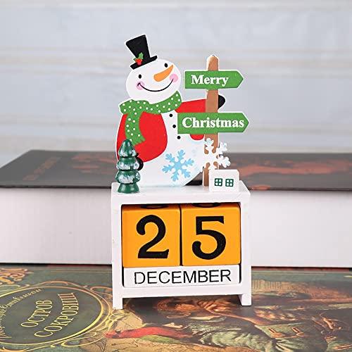 LOHOX Adventskalender Tisch Dauerkalender Weihnachtskalender Würfel Holz Bürokalender Weihnachten Deko für Kinder Mädchen Männer Erwachsene