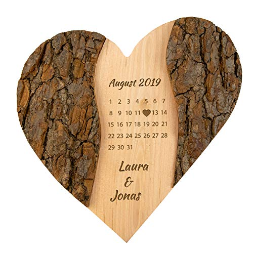 Geschenke 24 Holz Herz Schönster Tag: personalisierte Deko mit Gravur - Namen & Datum graviert – Geschenke zur Hochzeit, Hochzeitsgeschenk Jahrestag