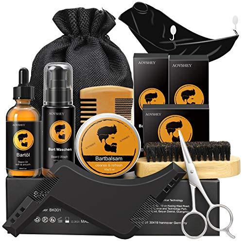 AOVSHEY Bartpflege Set Geschenkset für Männer 9 Teilig, 60mL Bartöl 60g Bartbalsam, Bartbürste, Bartkamm,...