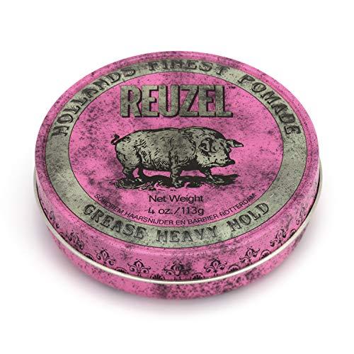 Reuzel - Pink Grease Heavy Hold Pomade - Ölbasiert & Bienenwachs - Spendet Feuchtigkeit & Kontrolle - Starker Halt & mittlerer Glanz - Apfelduft - Perlenfarben - Vegan Free - 4 oz/113 g