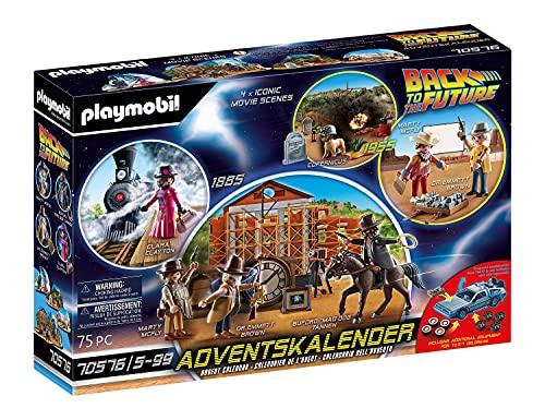 PLAYMOBIL Adventskalender 70576 Back To The Future III mit Sammelfiguren, Diorama und Zubehörteilen der Science-Fiction-Triologie, 75-teilig, Ab 5 Jahren