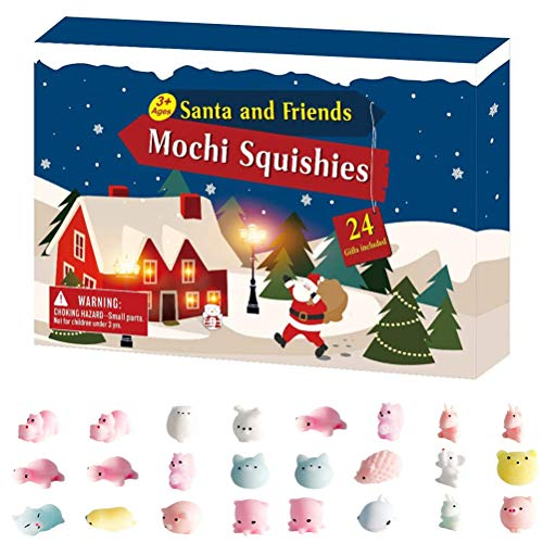 ZARQ Weihnachts Adventskalender 2020, 24 Stück Mochi Squishys Adventskalender 2020 Weihnachts Countdown Kalender Spielzeug Mini Animal Soft Squeeze Squishy Spielzeug für Kinder