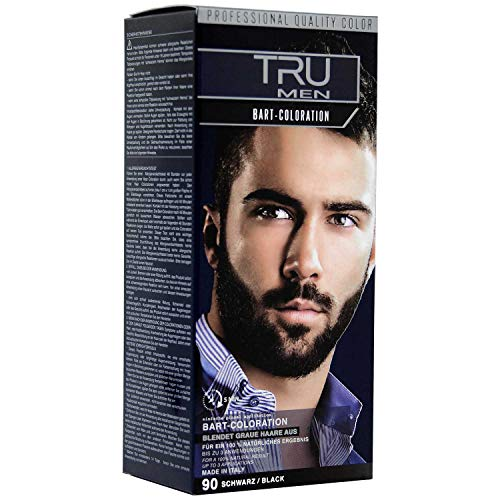 Tru Professional Men Bart-Coloration Färbemittel, 30ml (90 - Schwarz)