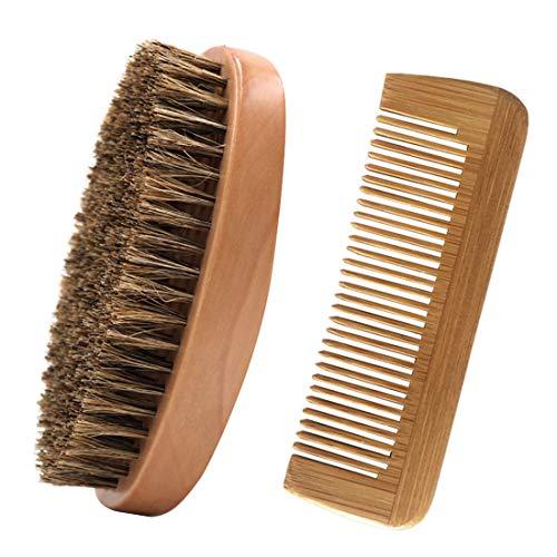 Bartbürste und Bartkamm Set,100% Echtholz,Holz-Kamm antistatisch,Hochwertige Bartbürste mit...