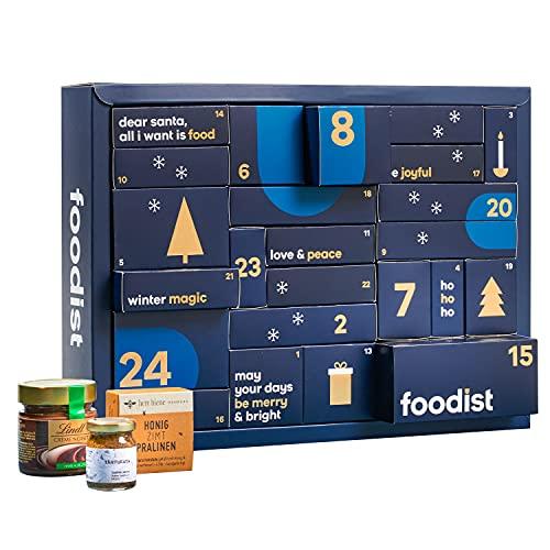 Foodist Premium Adventskalender 2021 - 24 leckeren Gewürzen, Aufstrichen, Tee, Snacks wie Nüssen, Schokolade, Fruchtgummies uvm. - ausgefallenes Geschenk für erwachsene Feinschmecker inkl. Rezepte