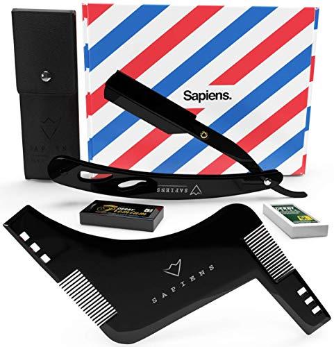 Rasiermesser und Bartschablone Set von Sapiens Barbershop - Bartpflege set Herren für bart Konturen mit...
