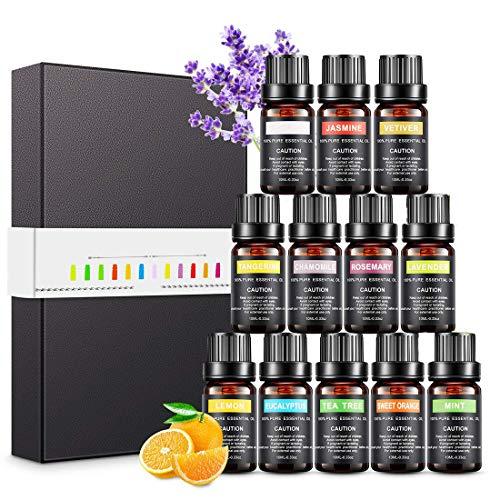 Magicfun Ätherische Öle Set, Aromatherapieöle Geschenkset 12 Stück 10 ml, 100% Reine Natürliche Duftöle...