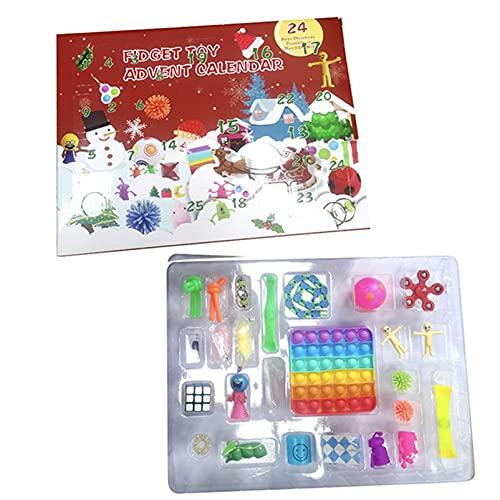 BRAINYTOYS Adventskalender Spielzeug,ZappelblöCke 24 Pack Weihnachten Sensorie Zappel Spielzeug Packung Stress Relief Und Anti-Angst-Werkzeuge BüNdel Sinnesspielzeug Set for Autismus Stress