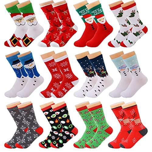 Fascigirl 12 Paare Weihnachtssocken Kuschelsocken Christmas Socks Weihnachten Socken Baumwolle Socken Unisex Bunt Lustige Socken Bettsocken Damen Winter Warme Socken