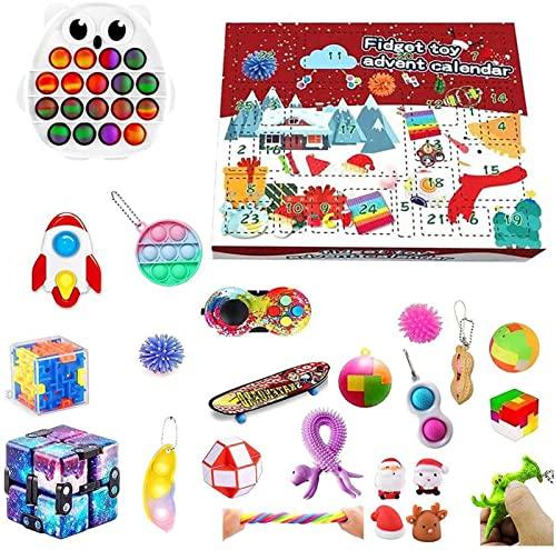 DIELUNY Spielzeug Adventskalender 2021 Weihnachten, 24 Stück Fidget Adventskalender Kinder Urlaub Weihnachten Countdown Kalender Fidget Toys Pack (Farbe: H)