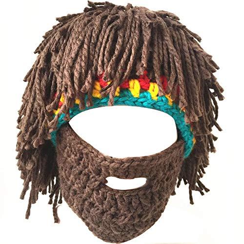 Lazzon Beard Head Bartmütze Damen Herren Wikinger Piraten Cosplay Lustige Vollbart Maske für Karneval...