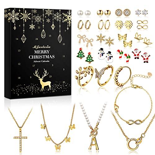MJARTORIA 2021 Schmuck Adventskalender Weihnachtskalender Damen Kinder Mädchen Adventskalender Weihnachten Countdown mit 24 Überraschungen Weihnachten Geschenk