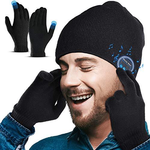 Lenski Geschenke für Männer Bluetooth Mütze V5.0 Kopfhörern & Winterhandschuhe Gadgets für Männer Geschenke Unisex Wintermütze Herren Adventskalender Männer 2021 Outdoor-Sport, Skifahren, Laufen