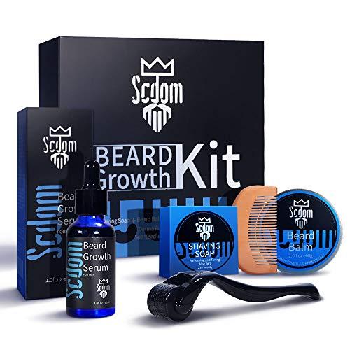 Beard Growth Kit, Scdom Patchy Facial Hair Growing Kit mit Bartroller + Bartwachstums Mittel + Bartbalsam +...