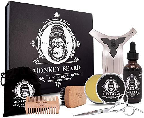 MONKEYBEARD® Bartpflege Set (9-teilig): Bart Set mit Balsam (60g) & Bartöl (60ml), Bürste, Schere, Kamm,...