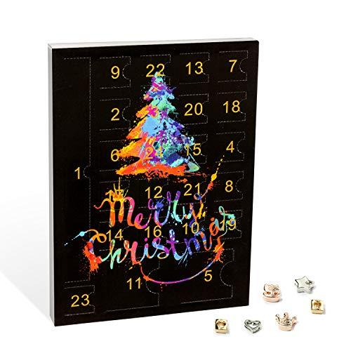 VALIOSA Merry Christmas Mode-Schmuck Adventskalender mit 1 Kette, 3 Armbänder, 20 Charms, das besondere &...
