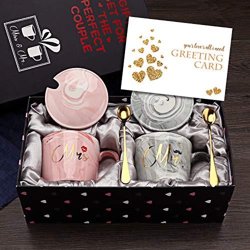 EXREIZST Kaffeebecher mit Aufschrift 'Mr and Mrs', Hochzeitsgeschenk für Braut und Bräutigam, Brautparty,...