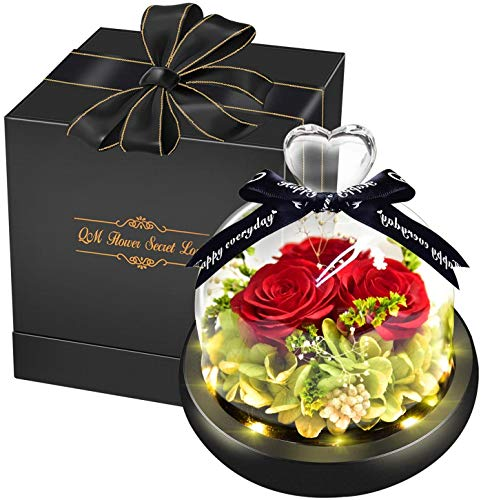 Swonuk 3 Blume Konservierte Rose mit Geschenkbox, Ewige Rose LED Lichterkette Hochzeit, Geburtstag, Valentinstag, Muttertag, Jubiläum - Echte Rosen