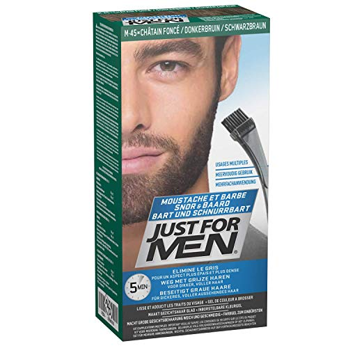 Just For Men Pflege-Brush-In-Color-Gel für Bart, Dunkelbraun, 3er Pack ( 3 x 14 g)