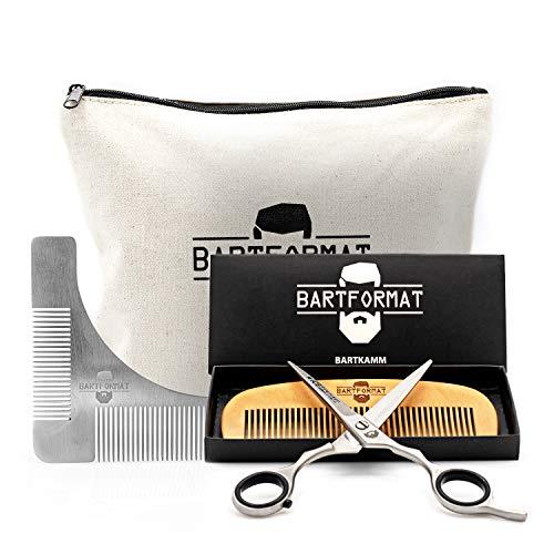 Bartpflege Set'KURZMACHER' von BARTFORMAT - Bartschere (16 cm) Edelstahl matt + Bartkamm (13 cm) 100%...