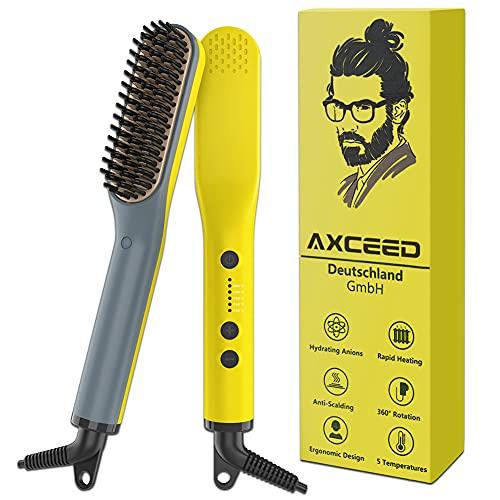 Bartglätter Kamm für Männer, Axceed 2-in1 Elektrischer Haarglätter, Prämie Ionischer Bürste 30s Schnelles Aufheizen bis 200 °C für Haar und Bart Glätteisen