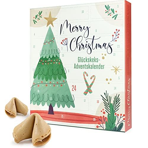 Food Crew Adventskalender 2021 Glückskekse Merry Christmas - 24 liebevolle Sprüche - Perfekt als Adventsgeschenk - Made in Germany