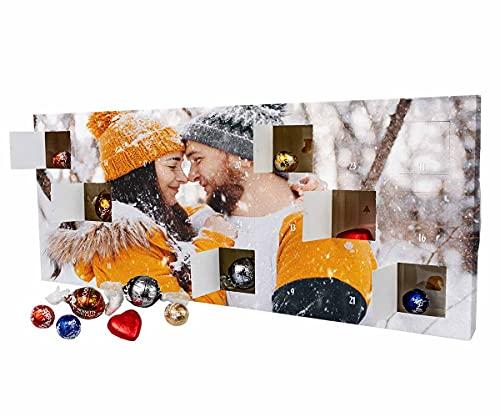 ORWONet – Lindt Adventskalender mit Foto 2021 | Schokoladenmischung aus 6 Sorten | XL-Format: 44 x 17,8 x 3,2 cm | Nikolaus