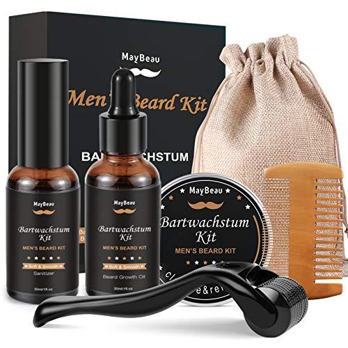 Beard Growth Kit Bartpflege set für Männer Bartwuchsmittel Bart wachstum kit mit Bart Derma Roller Bartserum...