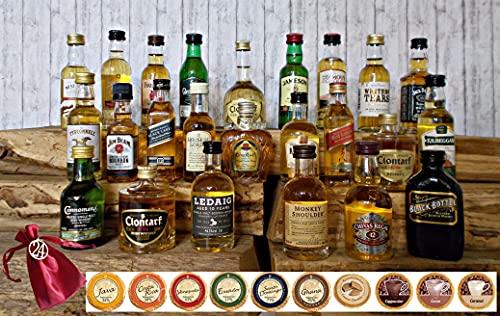 Adventskalender 24 Original Whisky Miniaturen je 50ml + 24 Edelschokoladen + 24 Satinbeutel + 24 Holznummern