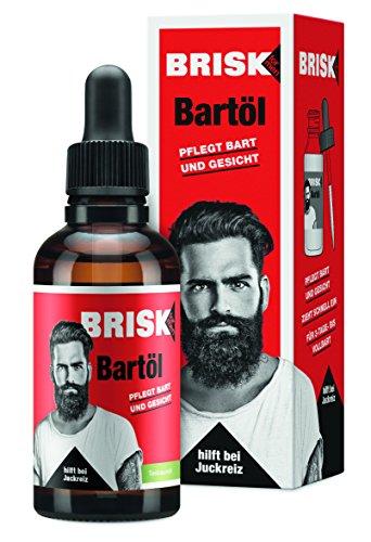 BRISK Bartöl für Männer, 2 x 50 ml, Bartpflege mit Teebaumöl, zieht schnell ein, für gepflegte Haut &...
