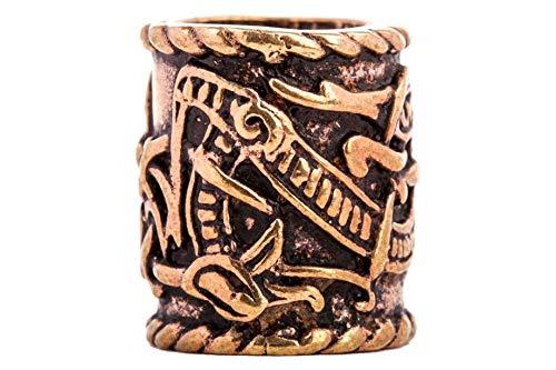 Windalf XL Haarperle RAGONA Ø 10 mm Bartschmuck Vikings Drachen Schmuck Dread Tube Hochwertige Bronze