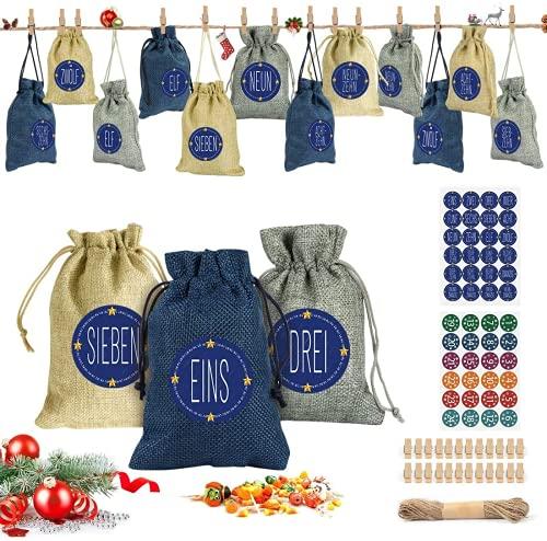 Adventskalender zum Befüllen, 24 Weihnachtskalender Stoffsäckchen zum Selberfüllen, mit 24 Zahlen Aufkleber Mini Holzklammern und Hanfseile,Jutesäckchen zum selber befüllbar und Aufhängen Bastelset