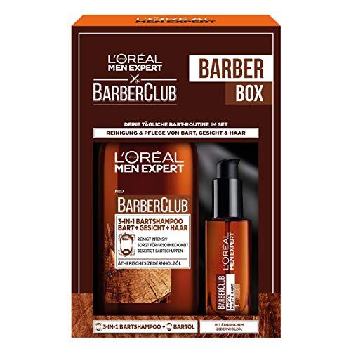 L'Oréal Men Expert Bartpflege Set mit Bartöl und Bartshampoo, Barber Club Herren Bartpflege Geschenkset, 1 x...