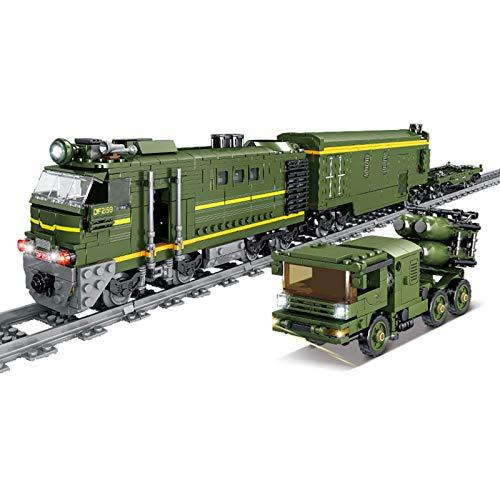 ZJLA Adventskalender Zug Track Set DIY Baustein Modell Lokomotive Zug Spielzeug mit Licht, 1174+Pcs Kompatibel mit Lego Technic (Df-41 Icbm Train)
