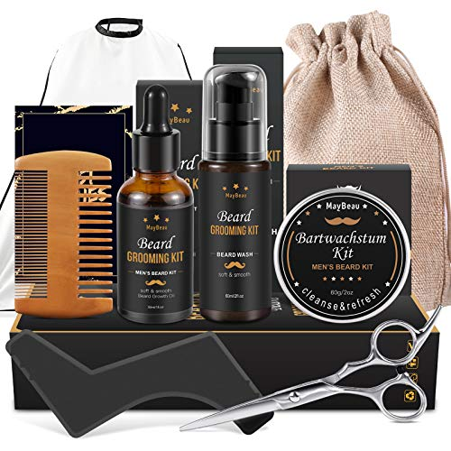 Beard Growth Kit Bartpflege mit Bartwuchsmittel Set 3-in-1 Bartpflege Bartwachstums Wäsche Geschenkset für...