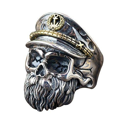 Punk 925 Sterling Silber Bart Totenkopf Ring für Herren Damen Verstellbar Größe 58-65