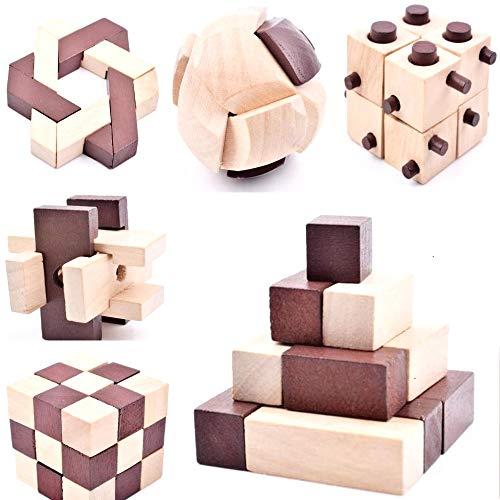 B&Julian ® 10 Knobelspiele Spielzeug 3D IQ Puzzle Holz Spiele Geschicklichkeitsspiel Denkspiel Holzpuzzle Spielsammlung für Kinder Erwachsene Ideen Adventskalender