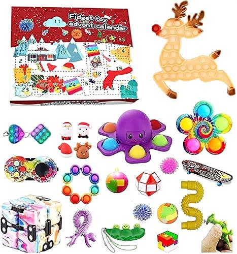 DIELUNY Spielzeug Adventskalender 2021 Weihnachten, 24 Stück Fidget Adventskalender Kinder Urlaub Weihnachten Countdown Kalender Fidget Toys Pack (Farbe: B4)