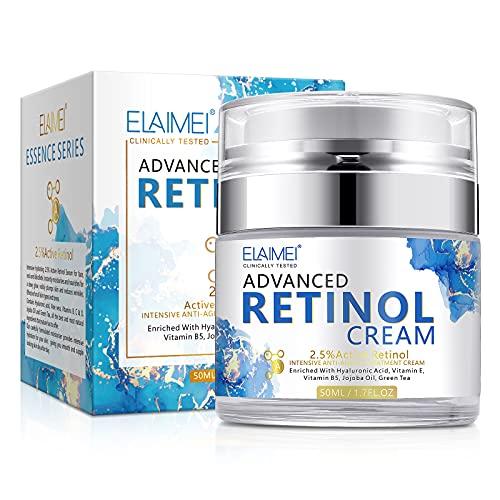 Cynamus Whitening Cream Retinol Creme,Anti-Aging Gesichtspflege,Tag & Nacht,mit 2,5% Retinol,Hyaluronsäure,Natürliche Anti Falten Feuchtigkeitscreme,Befeuchtet tief Beseitigen verhindern Sie Akne50ml