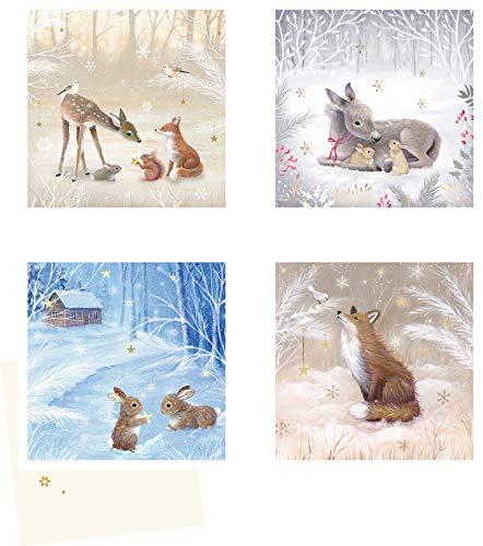 Mini-Adventskalender-Sortiment - Winterzauber: 4 Motive x 6 Ex.
