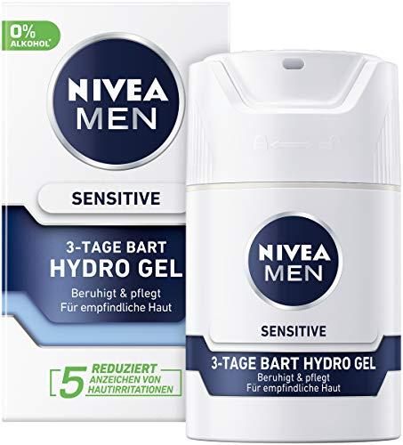 Nivea Men Sensitive 3-Tage Bart Hydro Gel im 1er Pack (1 x 50 ml), Feuchtigkeitscreme für Männer mit empfindlicher Haut & 3-Tage Bart, beruhigende Gesichtscreme