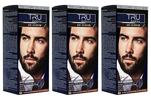 3x TRU Professional MEN Bart-Coloration 80-Natur Schwarzbraun (3´er Pack)