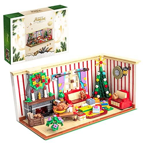 CALEN Weihnachten Haus Bausteine Modell, 1208 Teile Adventskalender 2021 Serie, Kompatibel mit Lego
