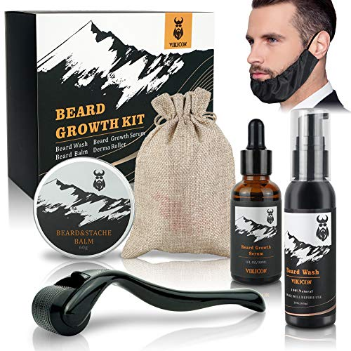 Beard Growth Kit, VIKICON Bartwachstums Set mit Bartschutz, Beard Wash, Derma Bart Roller, Bartwachstum Serum...