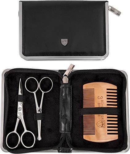 Drei Schwerter – Pflegeset ´Gladio` für tägliche Bartpflege, Bartkamm, Bartschere, Nasenhaarschere, Kunst...