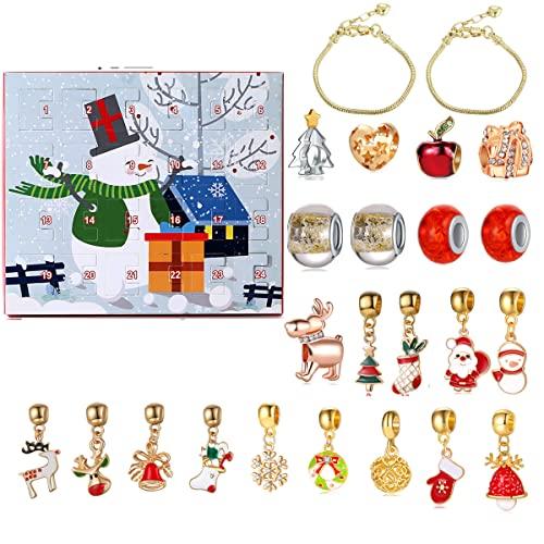 Weihnachts-Adventskalender, Weihnachts-Countdown-Kalender, 2021 Weihnachts-Überraschungs-Box, DIY-Charm-Armband Anhänger, 24-Tage-Countdown-Adventskalender, Weihnachts-Geschenkbox