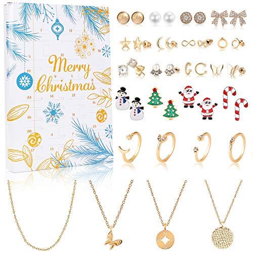 vamei Adventskalender 2021 Frauen Schmuck Adventskalender Mädchen Weinachtskalender Damen Schmuck Set Ohrringe Ohrstecker Halskette Ringe Countdown Kalender Weihnachten Geschenk für Damen Mädchen